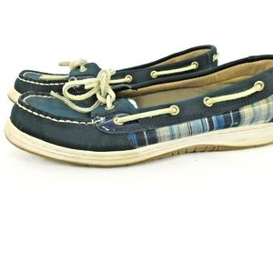 KHOMBU Plaid Topsider Loafer Boat Shoe sz 10 Blue